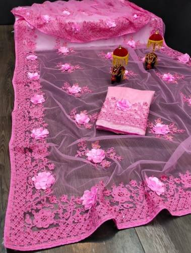 Absorbing Pink Color Occasion Wear Soft Net Applique Flower Hand Embroidered Stone Lcd Work Saree Blouse For Ladies