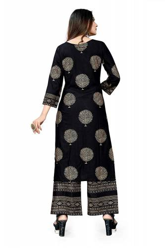 Amazeballs Black Color Foil Print Rayon Ready made Kurta Plazzo For Women