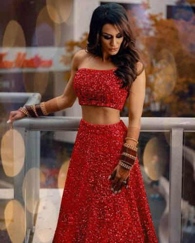 Entrancing Red Color Sequence Embroidered Work Georgette Design Semi Stitched Lehenga Choli For Party Wear