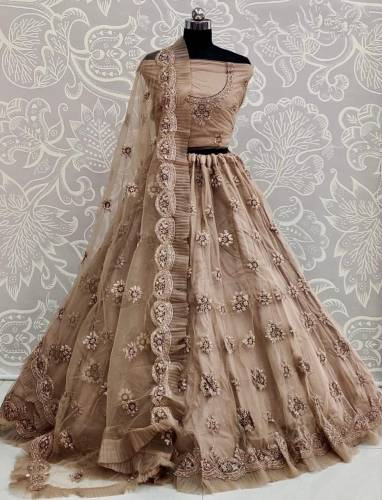 Rapturous Light Copper Color Soft Bridal Net Fancy Embroidered Zari Thread Work Lehenga Choli