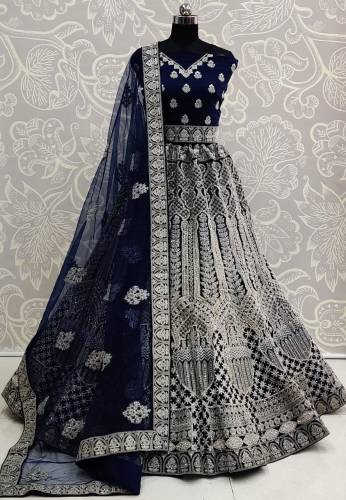 Awesome Navy Blue Color Beautiful Embroidered Zarkan Thread Diamond Work Soft Net Design Lehenga Choli
