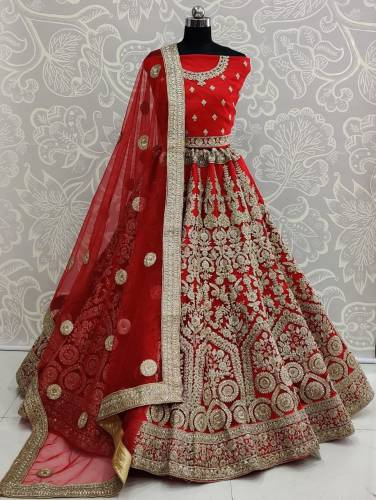 Appealing Red Color Soft Net Diamond Embroidered Thread Work Lehenga Choli Design