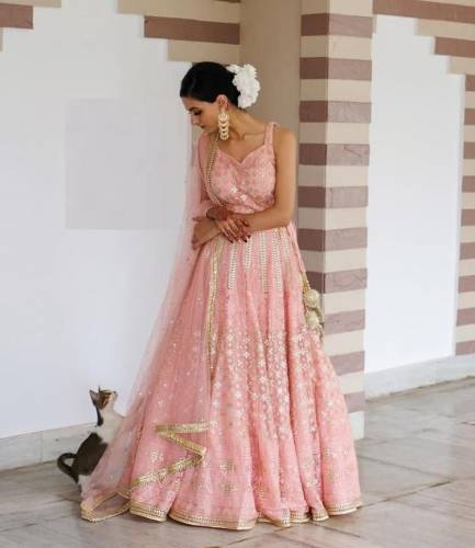 Exquisite Peach Color Wedding Wear Georgette Embroidered Work Lehenga Choli