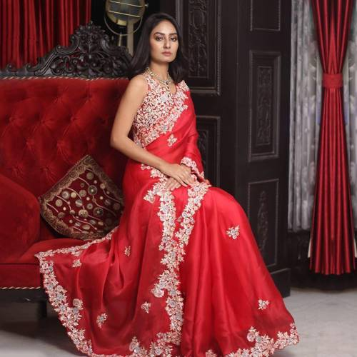 Artistic Red Color Designer Embroidered Coding Work Georgette Occasion Wear Saree Blouse