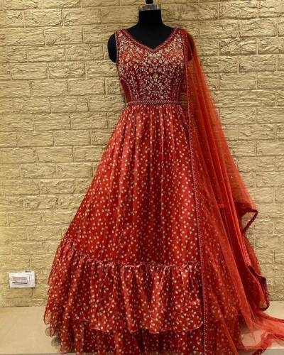 Alluring Red Color Party Wear Embroidered Work Georgette Ready Made Gown Design