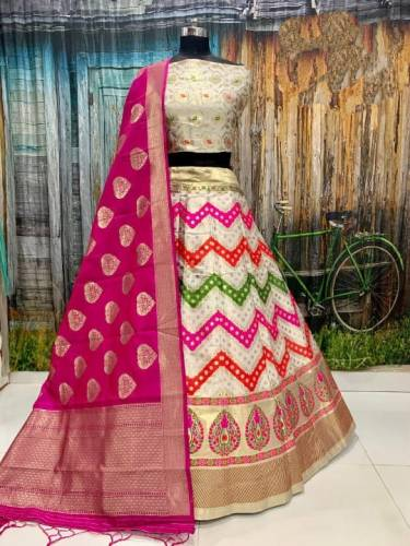 Dazzling Cream Color Function Wear Banarasi Brocade Design Lehenga Choli For Women