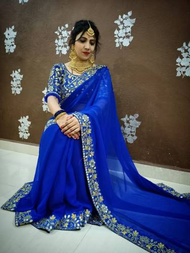 Amazing Royal Blue Color Fancy Real Glass Mirror Embroidered Work Design Georgette Party Wear Saree Blouse