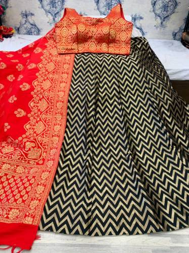 Chicy Red Color Classy Banarasi Brocade Design Occasion Wear Lehenga Choli