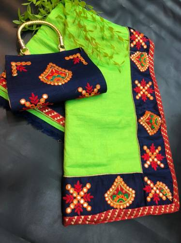 Fabulous Green Color Sana Silk Fancy Thread Gotta Patti Embroidered Work Saree Clutch Blouse For Ladies