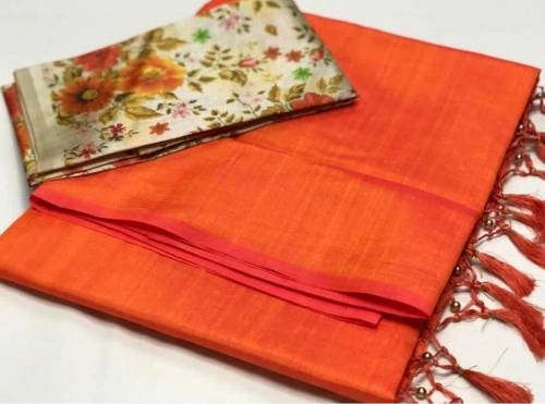 Amazing Orange Color Sana Silk Saree with Digital Print Blouse