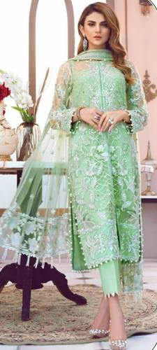 Entrancing Emerald Color Festive Wear Butterfly Net Multi Sequence Embroidered Stitch Moti Work Salwar Suit For Women