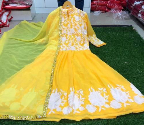 Beautiful Lemon Yellow Color Georgette White Embroidered Work Readymade Gown with Dupatta
