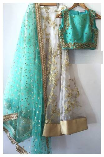 Beautiful White Color Net Embroidered Lehenga Design Online