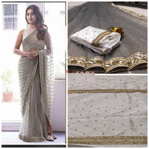 Alluring Grey Color Net Embroidered Saree with blouse For Women