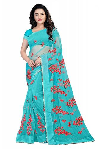 Beautiful Skyblue Color Soft Net Embroidered Work Saree Blouse