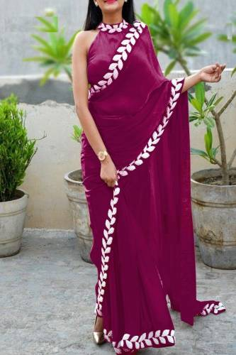 Glorious Pure Vichitra Silk Embroidered Plain Saree With Blouse piece