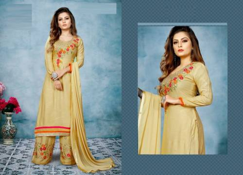 Awesome Light Gold Color Rayon Embroidered Stitched Kurta With Work Plazzo Design