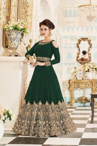 Amazing Green Color Anarkali Faux Georgette Designer Embroidered Work Gown Style Salwar Suit