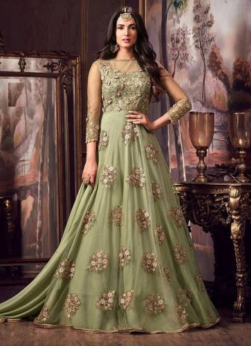 Special Light Green Color Soft Net Fancy Embroidered Work Long Anarkali Wedding Wear Suit