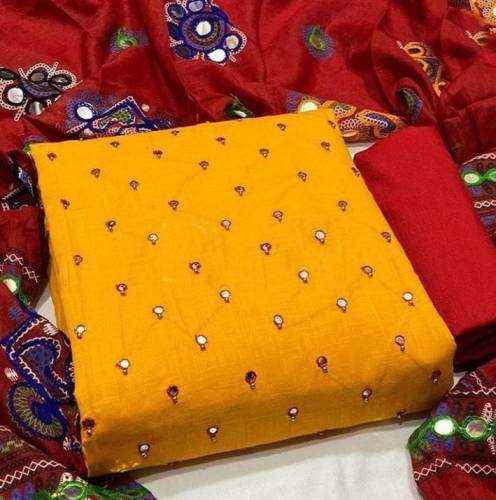 Beautiful Mustard Color Festive Wear Mirror Work Designer Cotton Salwar Suit For Women