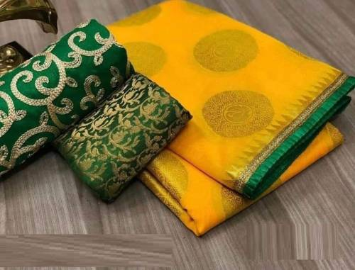 Amazing Yellow Color Heavy Chanderi Silk Saree with blouse