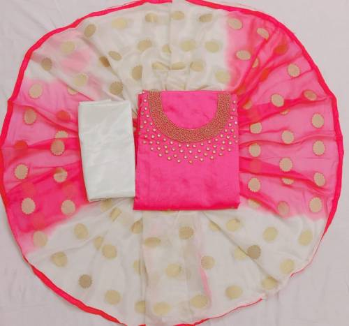 Baby Pink And White Chanderi With Khatli Hand Work UnStitched Suits For Women