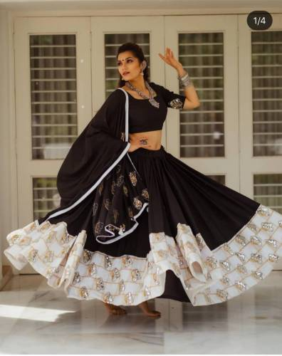Alluring Black Color American Silk Lehenga Choli with Georgette Dupatta