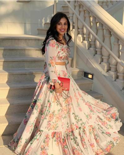 Dashing White Printed Georgette Lehenga Choli with Multi Printed Koti