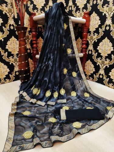Beautiful Navy Blue Color Georgette Machine Diamond Embroidered Butti Work All Over Lace Border Saree Blouse For Function Wear