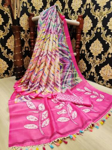 Intricate Fuchsia Color Linen Leheriya Digital Printed Saree Blouse For Function Wear