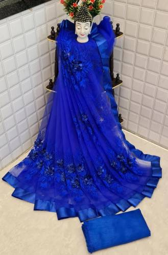 Alluring Royal Blue Color Designer Soft Net Embroidered Pearl Flower Stone Work Saree Blouse For Women