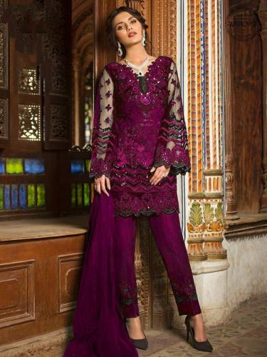 Majesty Bit Color Butterfly Net Embroidered Sequence Work Party Wear Salwar Suit