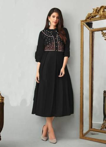 Delightful Black Colored Heavy Embroidered Work Cotton Kurti For Party Wear