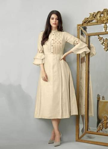 Glowing Cream Colored Heavy Cotton With Embroidered Designer Kurti For Party Wear