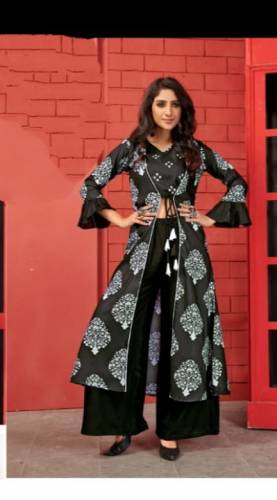 Dazzling Black Cotton Kurti With Shrug And Beautiful Digital Print Plazo For Function Wear aryadressmaker107B