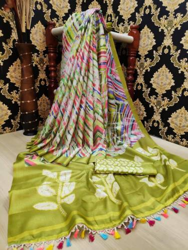 Stunning Green Color Digital Printed Linen Leheriya Saree Blouse For Festive Wear