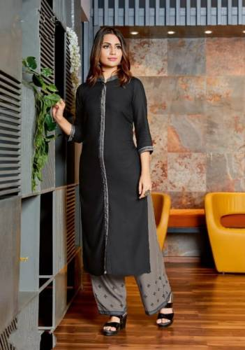 Beautiful Black Colored Heavy Rayon With Embroidered Kurti And Plazo Full Stitched For Party Wear SHIV103A