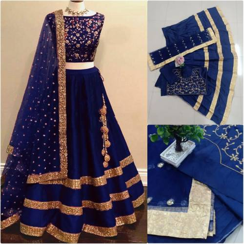Amazing Navy Blue Color Taffeta Silk Embroidered Semi Stitched Lehenga