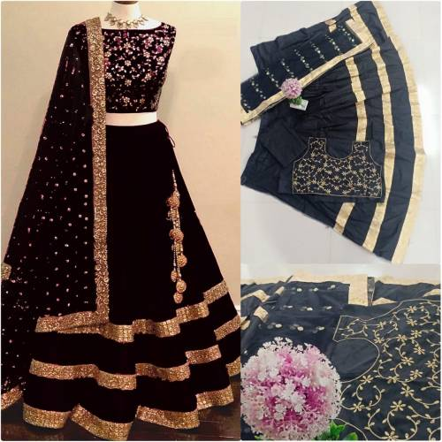Awesome Black Color Taffeta Silk Embroidered Semi Stitched Lehenga