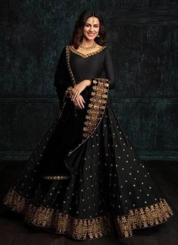 Adorable Black Color Tapeta Silk with Embroidery Lehenga