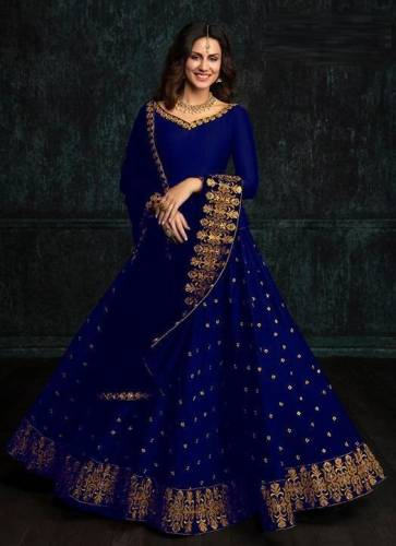 Artistic Navy Blue Color Function Wear Tapeta Silk Embroidered Lehenga Choli