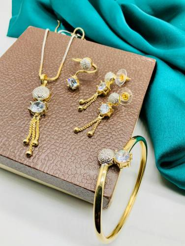Energetic Golden Plated White Diamond Color Artificial Jewellery Set