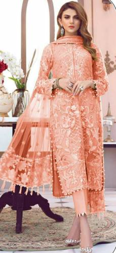 Pretty Brick Color Butterfly Net Multi Sequence Embroidered Stitch Moti Work Salwar Suit For Function Wear
