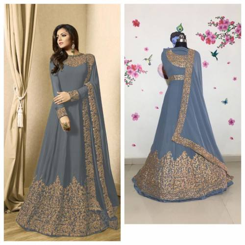 Appealing Grey Color Georgette with Coading work Anarkali Suit