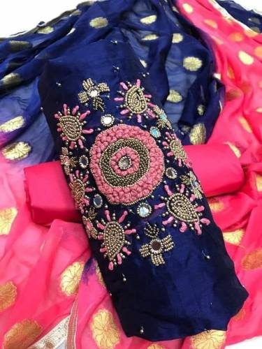 Amazing Blue Colored Daily Wear Chanderi Dress Material
