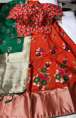 Lovely Red and Green Silk Semi Stitched Lehenga Choli Design Online