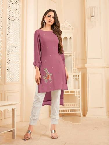 Classic Mauve Color Georgette With Diamond Work Full Stitched Kurti Pant CHETANA103H