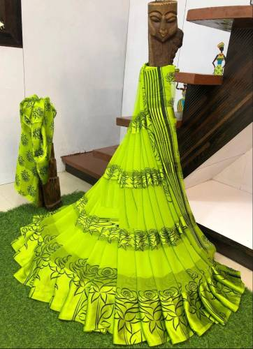 Delightful Light Green Colour Sartin patta Saree with Geometrical Print