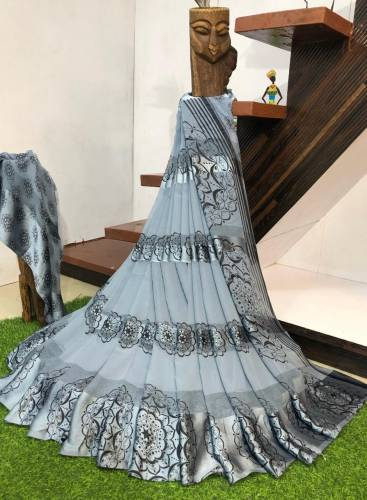 Adorable Grey Colour Sartin patta Saree Design For Function