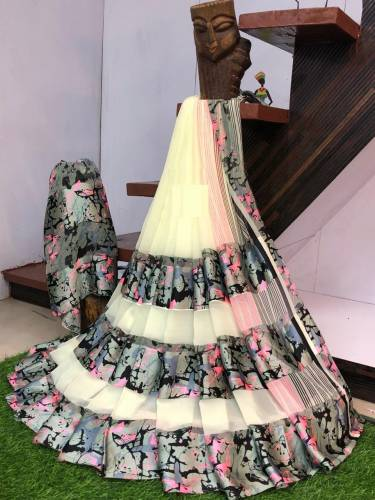 Astounding Off White Colour Sartin patta Printed Saree For Women